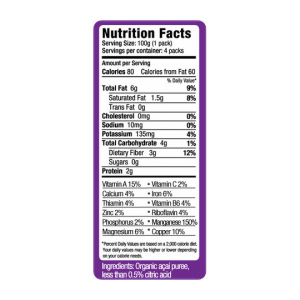 nutrition panel from acai puree package