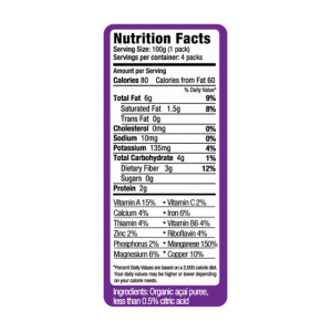 nutrition panel from pure acai puree package