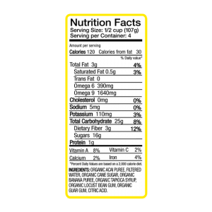 nutrition label from acai banana sorbet package