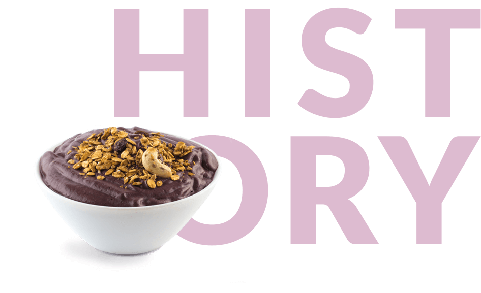 acai smoothie bowl with History in background