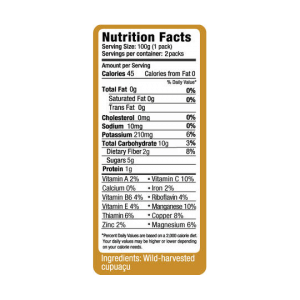 nutrition panel from cupuacu puree package