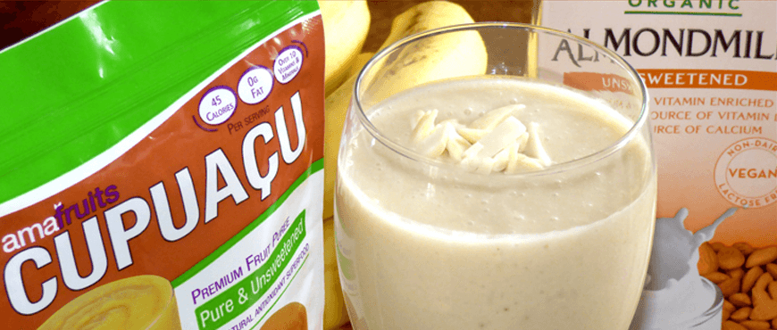 Cupuacu Almond Milk Smoothie with Cupuacu package