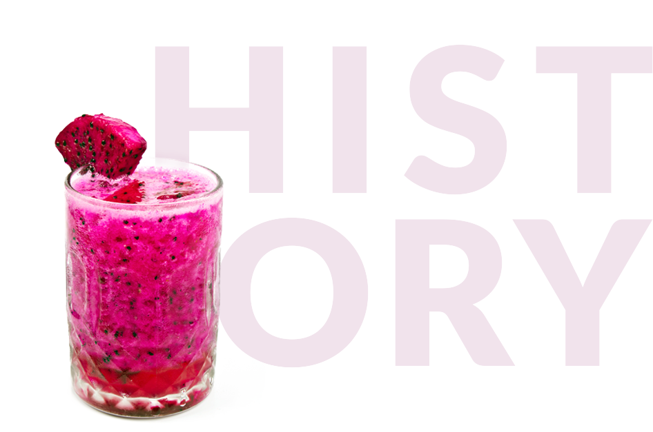 pitaya smoothie with History in background