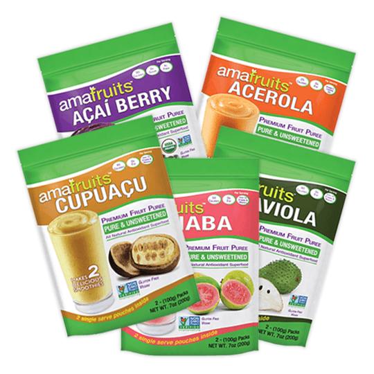 cupuacu, goiaba, acai, acerola and graviola purees